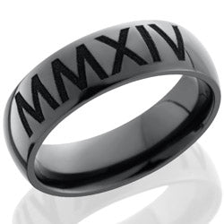 Style 103873: Zirconium 7mm domed band with customized laser carved Roman Numerals