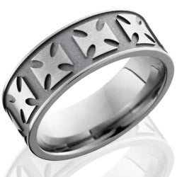 Style 103575: Titanium 8mm Flat Band with Maltese Cross Pattern