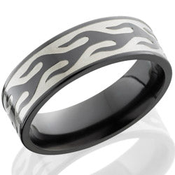 Style 103879: Zirconium 7mm flat band with Contour Flame design