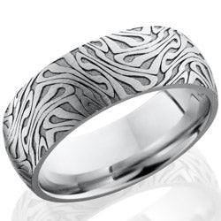 Style 103710: Cobalt Chrome 8mm domed band with laser carved Escher 1 pattern