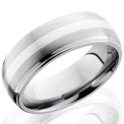 Style 103555: Titanium 8mm Domed Band with Grooved Edges and 2mm SS
