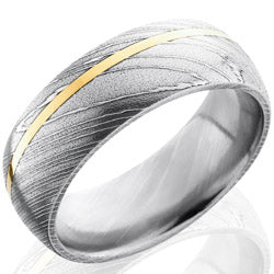 Style 103816: Damascus Steel 8mm Domed Band with 1mm 14KY