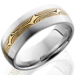 Style 103719: Cobalt Chrome 8mm Domed Band with 3mm Mokume Inlay