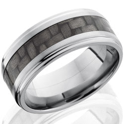 Style 103609: Titanium 9mm Flat Band with 4mm of Carbon Fiber and Grooved Edges