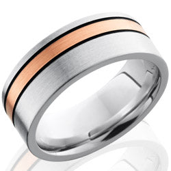 Style 103731: Cobalt Chrome 8mm Flat Band with 2mm 14KR