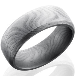 Style 103822: Flat Twist Patterned Damascus Steel 8mm Domed Band with Beveled Edges