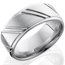 Style 103787: Cobalt Chrome 9mm Flat Band with Grooved Edges and Striped Pattern