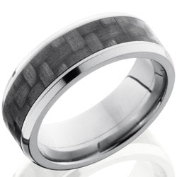 Style 103597: Titanium 8mm Beveled Band with 5m of Carbon Fiber