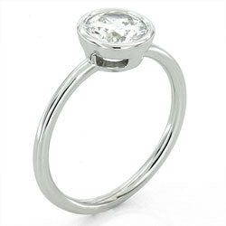 Style 10366-8mm: Delicate Round Bezel Set Engagement Ring