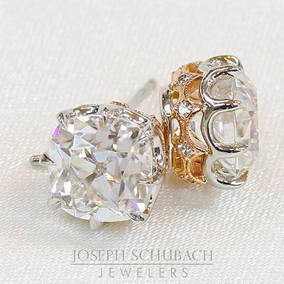 Style 103388: Vintage Inspired Cushion Earrings with Diamond Accents