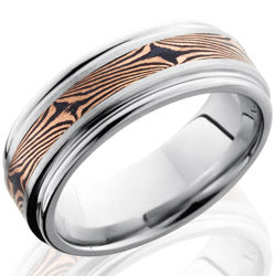 Style 103765: Cobalt Chrome 8mm Flat Band with Rounded Edges and 3mm Mokume