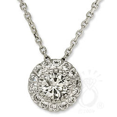 4.5mm (1/3ct) Classic Sweetheart Pave Necklace (Style 10119)