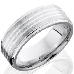 Style 103745: Cobalt Chrome 8mm Flat Band with Grooved Edges and 1.5mm SS