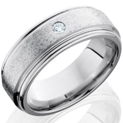 Style 103768: Cobalt Chrome 8mm Flat Band with Rounded Edges and Flush Set .07ct White Diamond