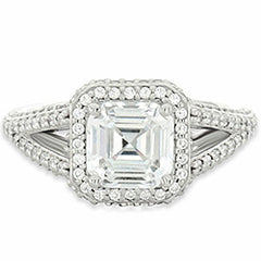 Style 102255: Split Shank Square Halo Engagement Ring With Round Diamonds
