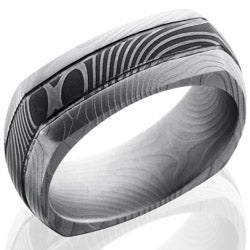 Style 103827: Flat Twist Patterned Damascus Steel 8mm Domed Square Band with Two .5mm Grooves