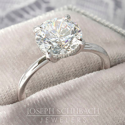 Setting - Round Duchess Engagement Ring with Petite Pavé Under Bezel