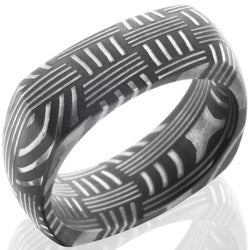 Style 103828: Basket Patterned Damascus Steel 8mm Domed, Square Band