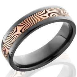Style 103870: Zirconium 6mm Flat Band with 3mm 14KR and Shakudo Mokume