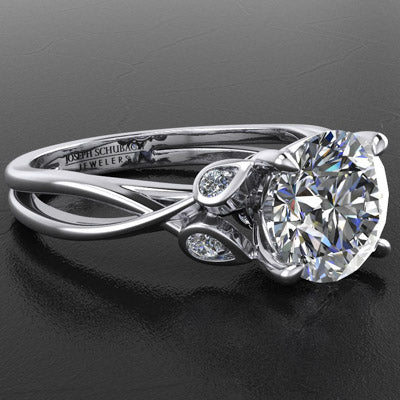 Style 103308: Split Band Engagement Ring With Diamond Leaf Accents And Pave Basket Base