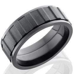 Style 103921: Zirconium 8mm Flat, Spinner Band with Gear Pattern