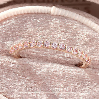 Shared Prong Anniversary Band with Pink Sapphires