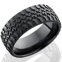 Style 103939: Zirconium 9mm Domed Band with Truck Tire Pattern
