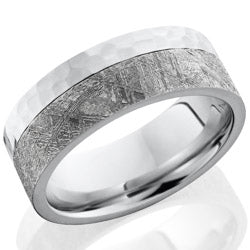 Style 103732: Cobalt Chrome 8mm flat band with 5mm meteorite on edge