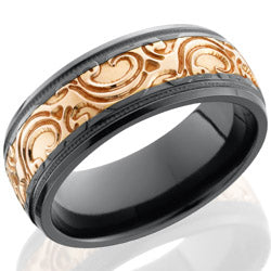 Style 103589: Zirconium 8mm domed band with 4mm Rose Gold inlay with JBA pattern
