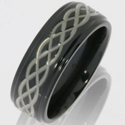 Style 103922: Zirconium 8mm Flat Band with Grooved Edges and Celtic Pattern