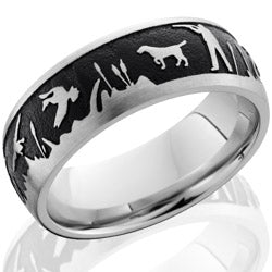 Style 103709: Cobalt Chrome 8mm domed band with laser carved duck hunt scene