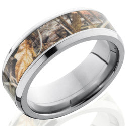 Style 103616: Titanium 8mm Beveled Band with 5mm of Realtree Max4 Camo