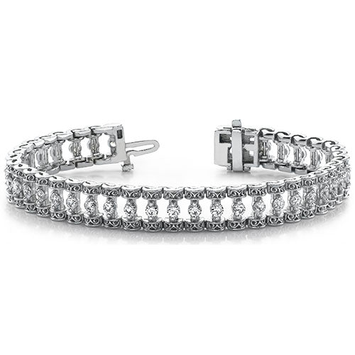 Style 9282M: Round Moissanite Filigree Candlestick Style Tennis Bracelet