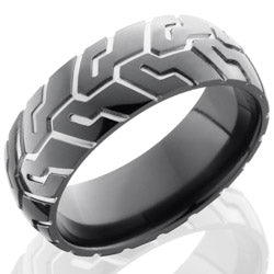 Style 103900: Zirconium 8mm Domed Band with Tire Tread Pattern