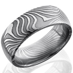 Style 103824: Flat Twist Patterned Damascus Steel 8mm Domed Band
