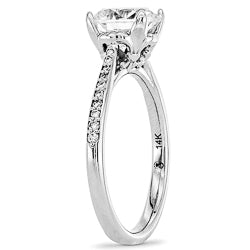 Style 102779: Petite Diamond Cathedral Engagement Ring With A Fleur-de-lis Design Custom Head