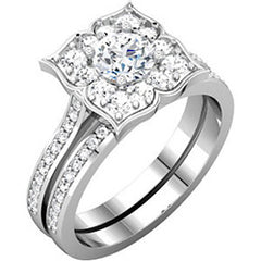 Flower Design Halo Engagement Ring with Diamonds