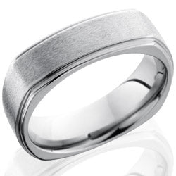 Style 103538: Titanium 7mm Flat, Square Band