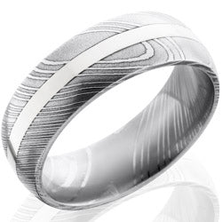 Style 103817: Damascus Steel 8mm Domed Band with 2mm 14KW