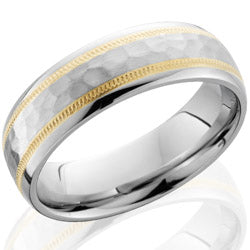 Style 103649: Cobalt Chrome 6mm domed band with 14KY milgrain