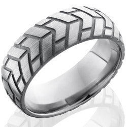 Style 103549: Titanium 8mm Domed Band with Tire Tread Pattern
