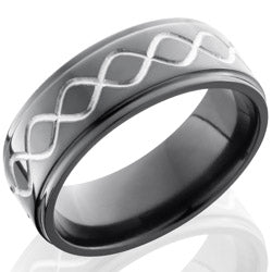 Style 103927: Zirconium 8mm Flat Band with Grooved Edges and Infinity Pattern