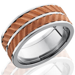 Style 103586: Titanium 9mm Flat Band with Spinning Copper Segements