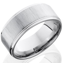 Style 103782: Cobalt Chrome 9mm Flat Band with Grooved Edges