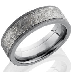 Style 103984: Titanium 7mm Flat Band with 5mm Meteorite