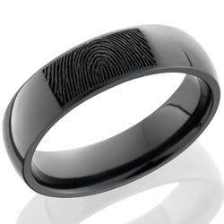 Style 103867: Zirconium 6mm domed band with customized laser carved fingerprint