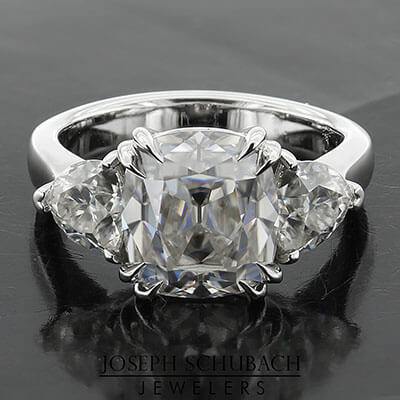 Casablanca Custom Made Three Stone Ring with Trillion Side Stones and Filigree Gallery (Style 103397)