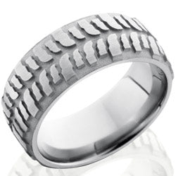 Style 103581: Titanium 9mm Domed Band with Bogger Tire Pattern