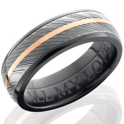 Style 103876: Zirconium 7mm Domed Band with 5mm Damascus and 1mm 14KR