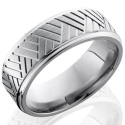 Style 103572: Titanium 8mm Flat Band with Grooved Edges and Basket Pattern